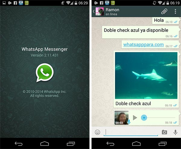 WhatsApp for Android with two blue check