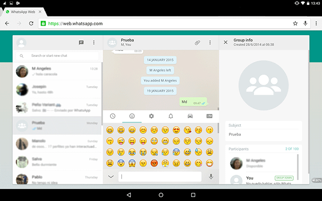 WhatsApp Web also on Android tablets