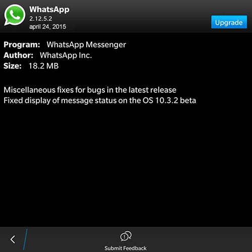 WhatsApp 2.12.5.2 BlackBerry 10