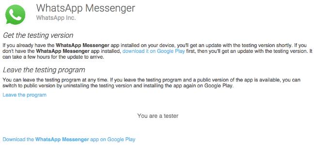 beta tester of WhatsApp