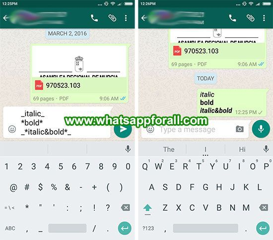 WhatsApp for Android allows the use of bold and italic