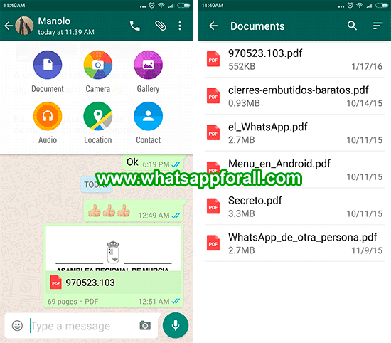 WhatsApp for Android already allows Share Documents