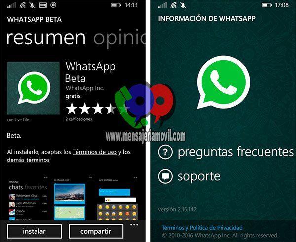 WhatsApp for Windows Phone or Windows 10 Beta