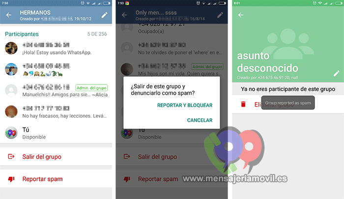 WhatsApp Android activates spam reporting to groups