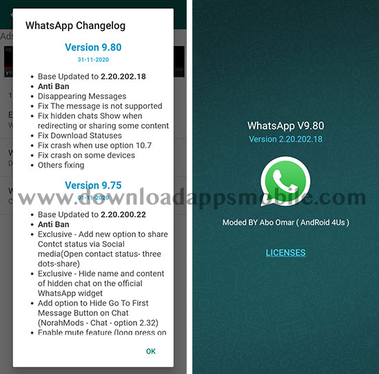 image with all the new features of NOWhatsApp 9.80