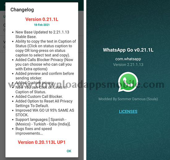 Image with the latest new features of WhatsApp GO 2021 version 0.21.1L