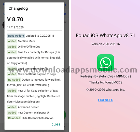 Image with the new features of the latest version 8.71 of Fouad iOS WhatsApp 2021