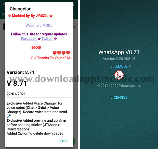 image with the latest news of WhatsApp Plus Jimods 8.70