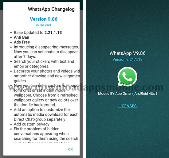 image with all the new features of NOWhatsApp 2021 version 9.86
