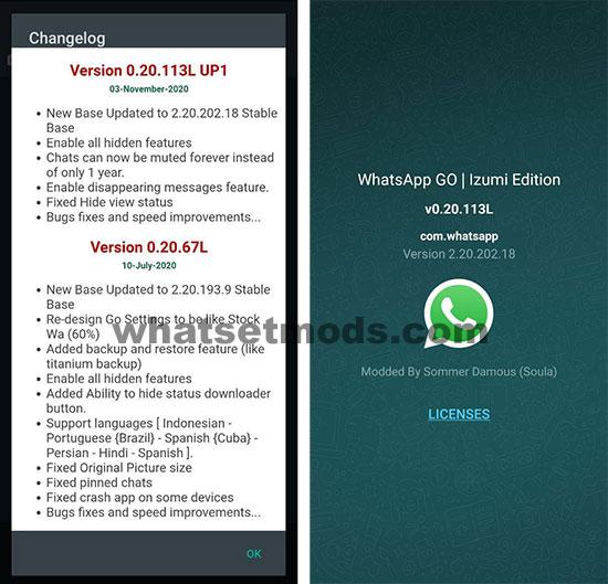 image avec les dernières nouvelles de WhatsApp GO 0.20.113L