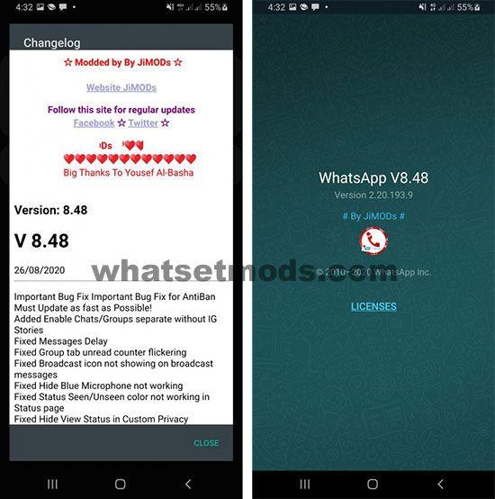 image avec les derniers JiMODs WhatsApp Plus 8.48