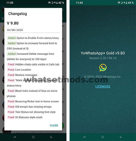 image avec les dernières nouvelles de YoWhatsApp GOLD 9.80