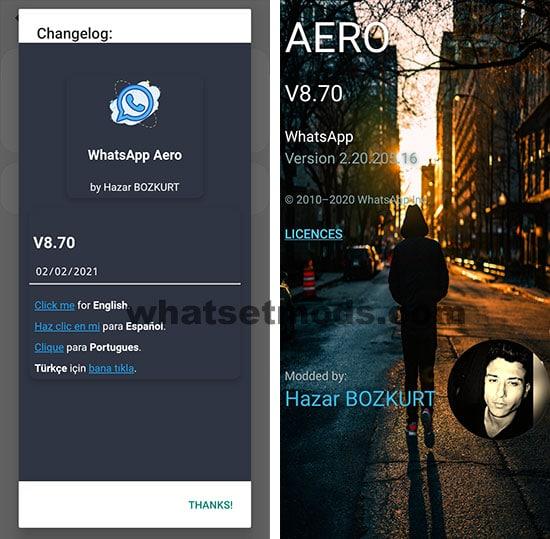image avec la dernière version de WhatsApp Aero 8.70