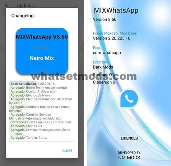 image avec la dernière version de WhatsApp Mix 8.66