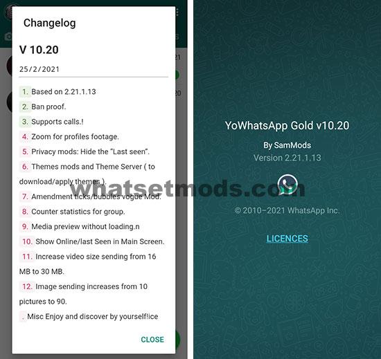 image avec les nouvelles fonctionnalités de la dernière version 10.20 de YoWhatsApp GOLD 2021
