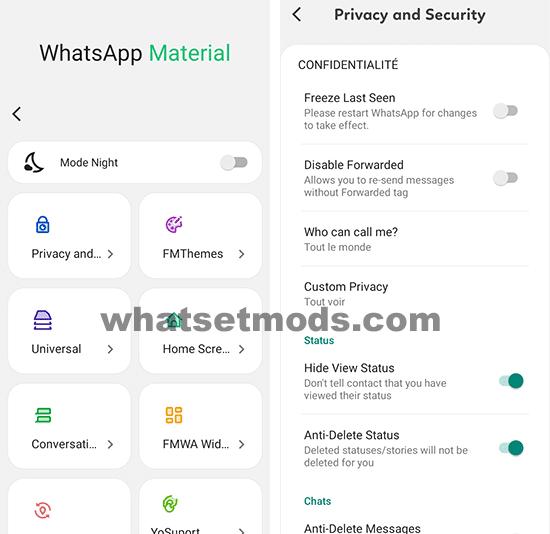 Image des principales caractéristiques de WhatsApp Material D2
