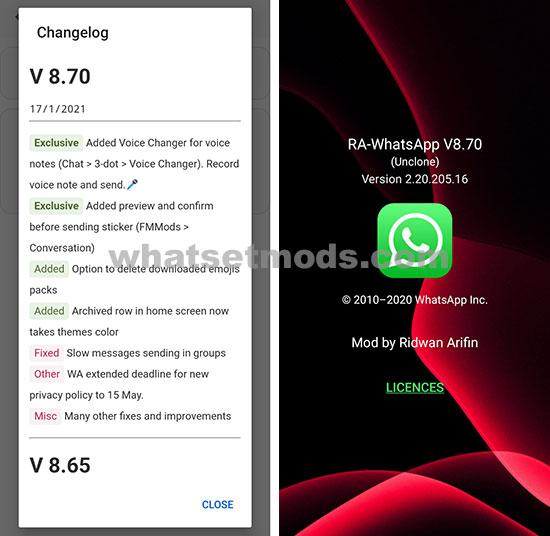 image avec la dernière version de Ra WhatsApp iOS 8.70