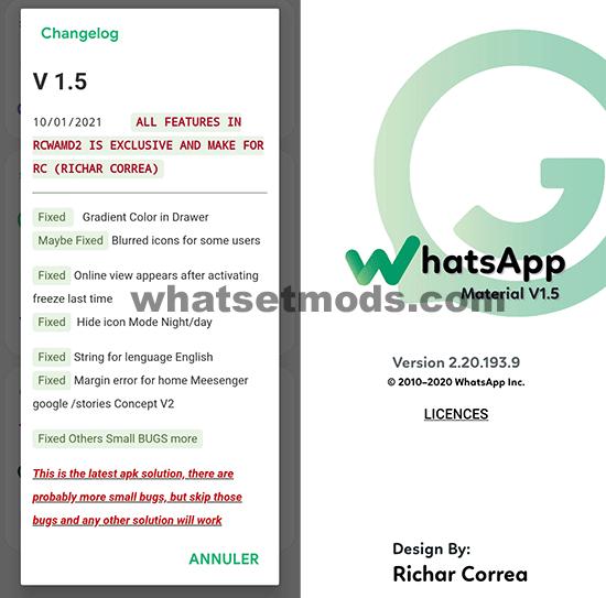image avec les dernières nouvelles, de WhatsApp Material D2 v1.5