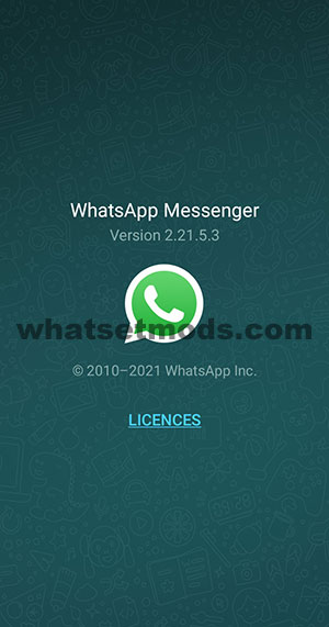 image avec la dernière version 2.21.5.3 de WhatsApp Base 2021