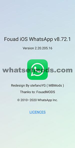 Image avec les nouveautés de la dernière version 8.72.1 de Fouad iOS WhatsApp 2021
