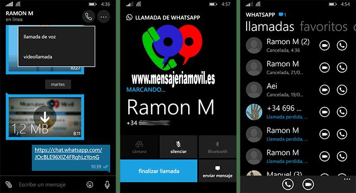VideoLLamadas en WhatsApp para Windows 10 Mobile