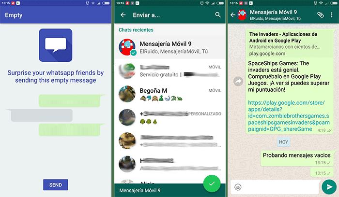 whatsapp mensajes vacios