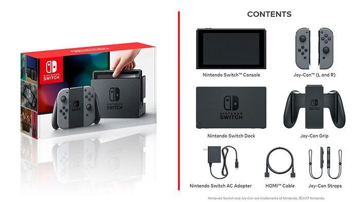nintendo switch contenido caja
