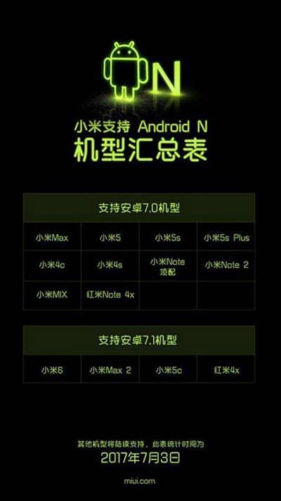 imagen dispositivos xiaomi android 7