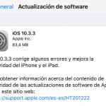 Ya disponible la nueva versión iOS 10.3.3 para iPhone y demás