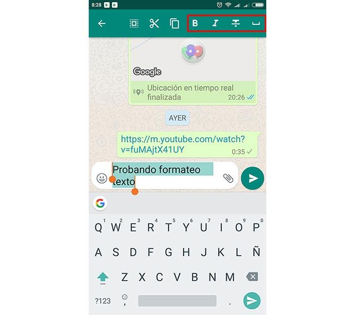 imagen whatsapp nuevos iconos para formatear texto