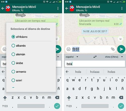 imagen chats traducidos en whatsapp