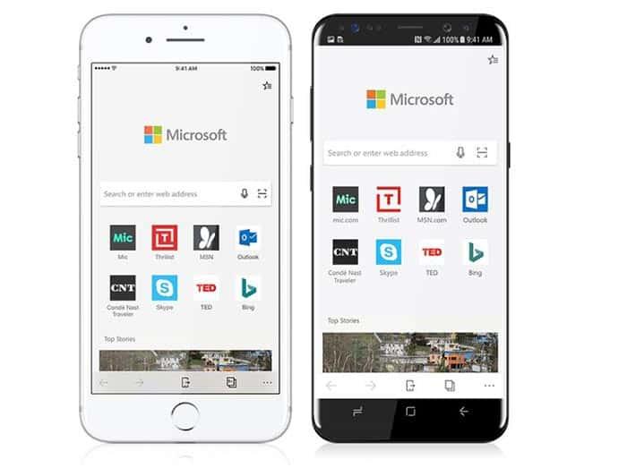 imagen Microsoft Edge para Android y iOS