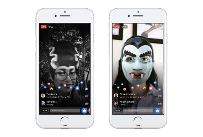 imagen Facebook Live con filtros