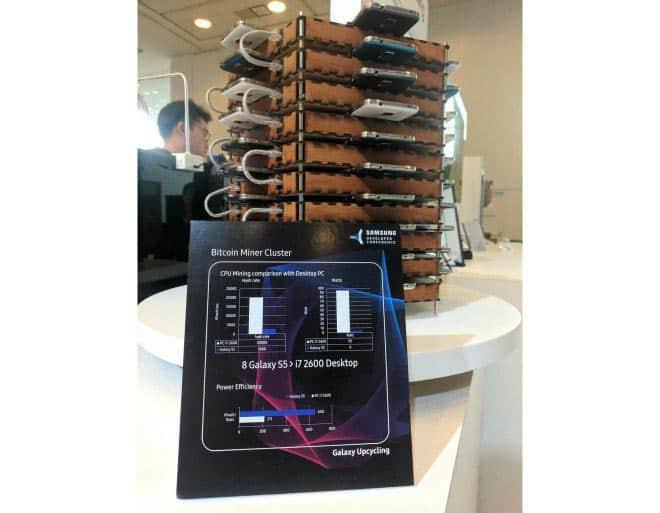 imagen Samsung rack 40 Galaxy S5 extracción bitcoin