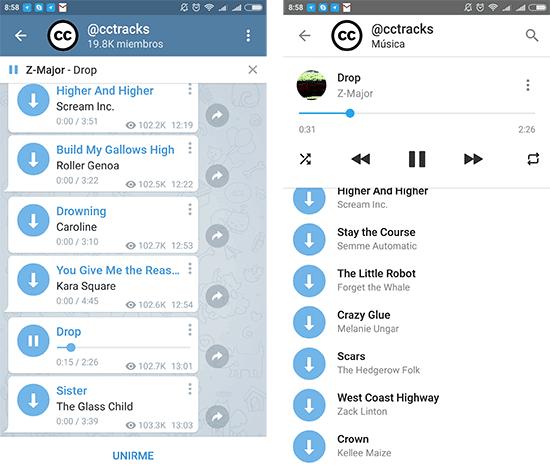 imagen telegram nuevo reproductor musica