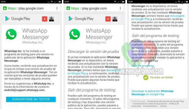 imagen Beta Tester de WhatsApp para Samsung