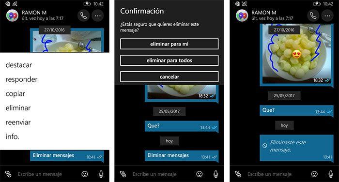 imagen WhatsApp para Windows 10 Mobile eliminar mensajes