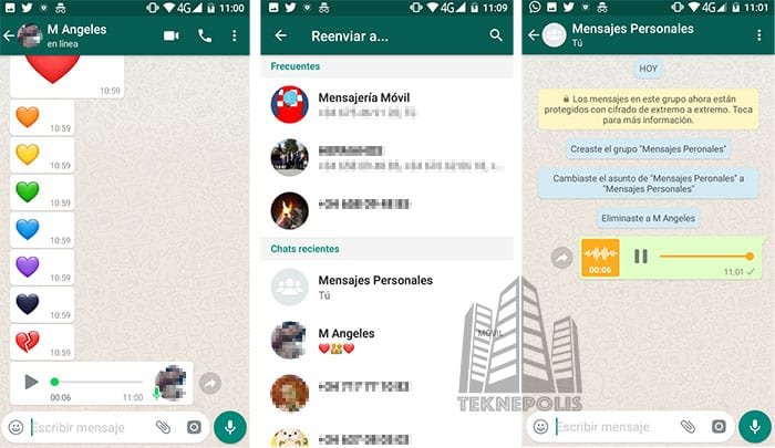 imagen mensajes de audio en WhatsApp