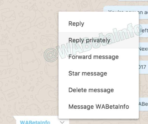 imagen whatsapp web responder en privado a un mensaje