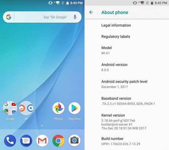 imagen Xiaomi Mi A1 Android Oreo