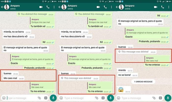 imagen WhatsApp leer mensajes borrados