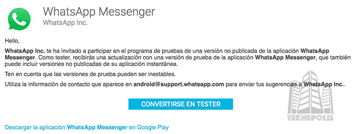 Versión Beta de WhatsApp para Android