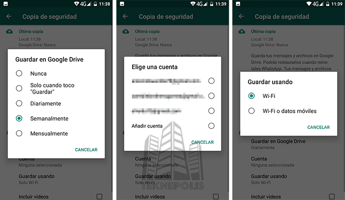 copias de seguridad de WhatsApp para Android