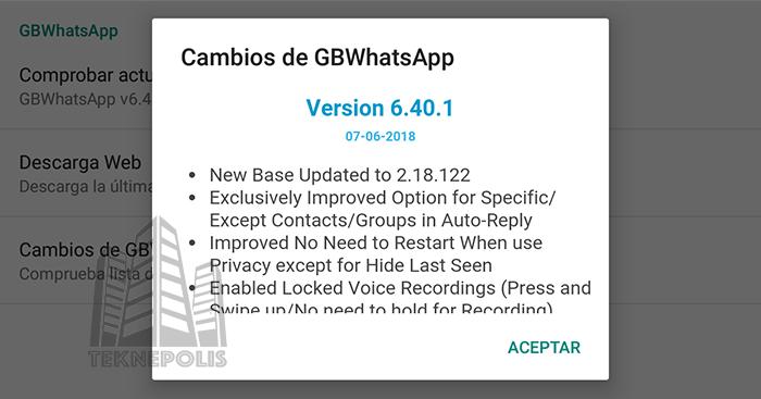GBWhatsApp Plus se actualiza a la versión 6.40.1
