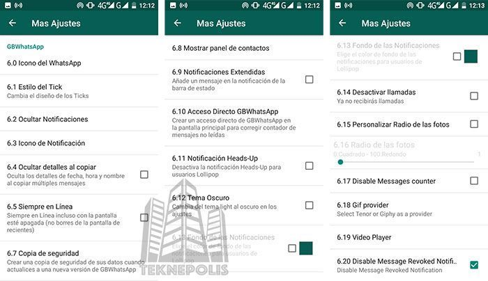 Extras en WhatsApp Plus