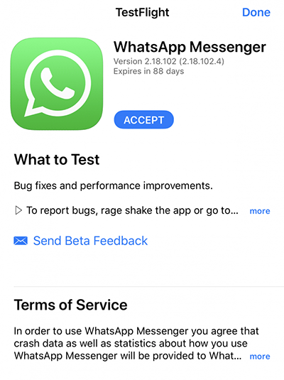 Beta Tester en WhatsApp para iPhone