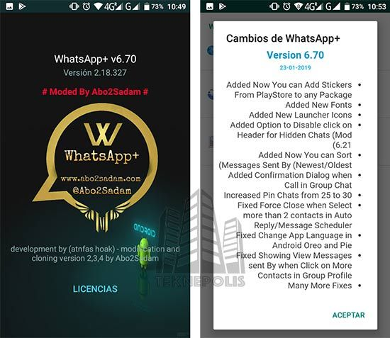 WhatsApp Plus Versión 6.70