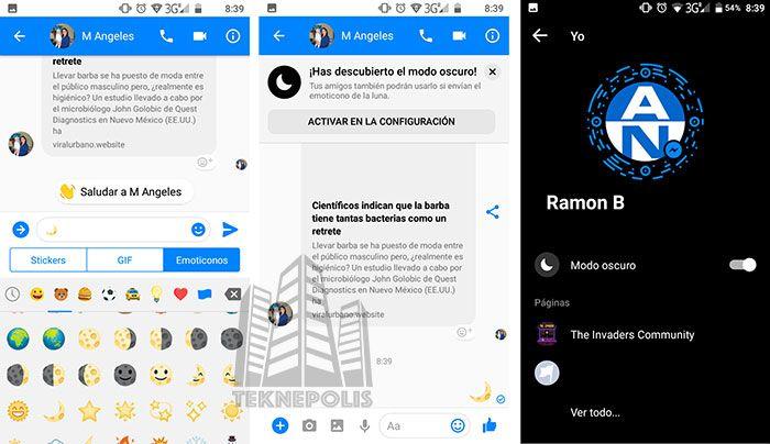 Facebook Messenger activar el modo Oscuro