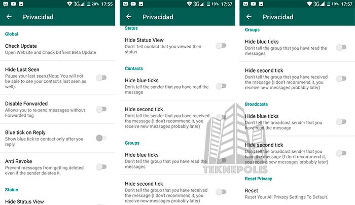 WhatsApp Base privacidad